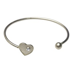 SILVER PLATED HEARTWITH WHITE STRASS BRACELET