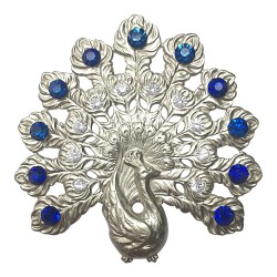 SILVER PLATED PEACOCK WITH WHITE AND BLUE STRASS