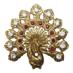 GOLD PLATED PEACOCK WITH WHITE AND RED STRASS BROOCH