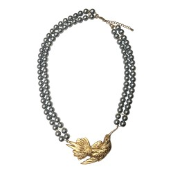 GOLD PLATED BIRD WITH 2 PEARL ROW NECKLACE