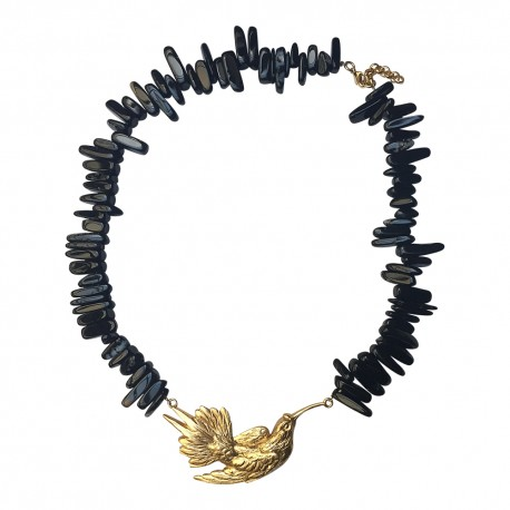 GOLD PLATED BIRD WITH ONYX NECKLACE