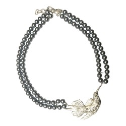 SILVER PLATED BIRD WITH 2 GREY PEARL ROW NECKLACE