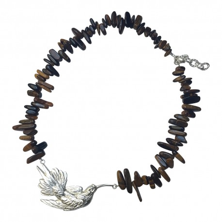 SILVER PLATED BIRD WITH TIGER EYE STONE NECKLACE