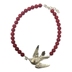 COLLIER GRAND OISEAU COLIBRI ARGENTE GORGONE ROUGE