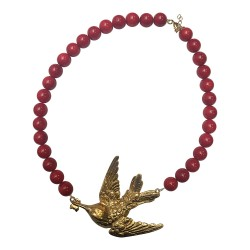 COLLIER GRAND OISEAU COLIBRI DORE GORGONE ROUGE