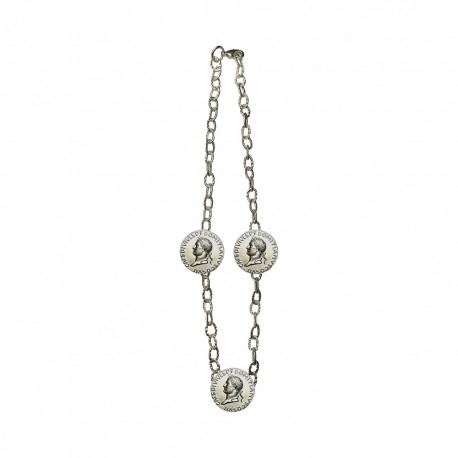 SILVER PLATED 3 CESAR HEAD MEDAILLON NECKLACE