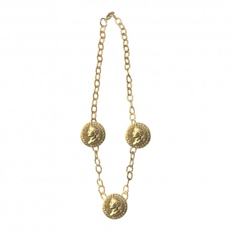 GOLD PLATED 3 CESAR HEAD MEDAILLON NECKLACE