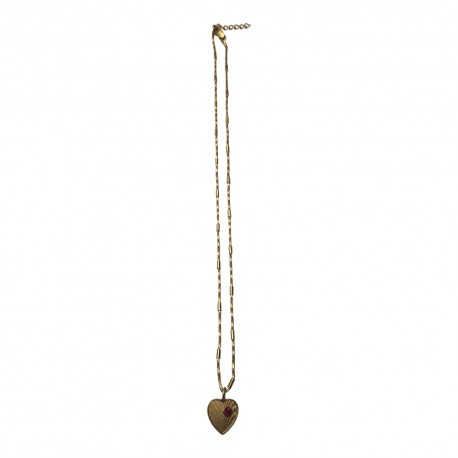 GOLD PLATED HEART WITH RED STRASS WITH CHAIN PENDANT