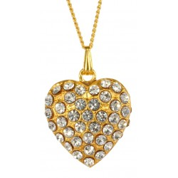 Golden Double side Heart with white swarovski crystal Pendant