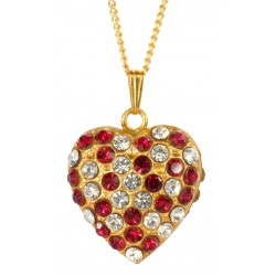 Golden Double Face Rubis Heart Pendant