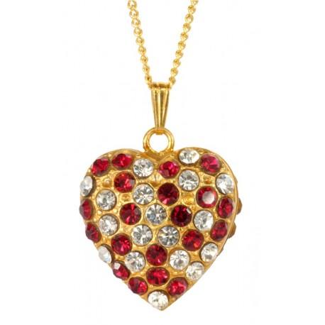 Pendentif Coeur  Double Face Diamant Rubis Doré