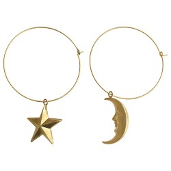 GOLD PLATED STAR AND MOON HOOPS EARRINGS