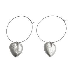 SILVER PLATED HEART HOOPS EARRINGS