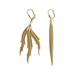 GOLD PLATED ALGAE AND WATER LEAF PENDANT EARRINGS