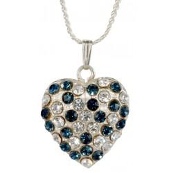 Pendentif Coeur Double Face argenté avec cristal swarovski blanc et bleu