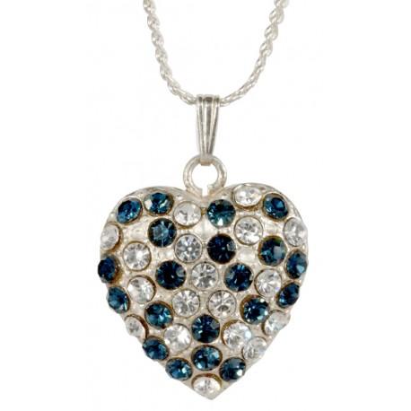 Pendentif Coeur  Double Face Diamant Saphir Argenté