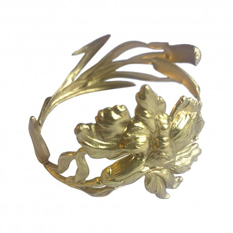 GOLD PLATED REED AND IRIS BRACELET