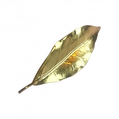 GOLD PLATED LAUREL LEAF BROOCH