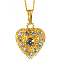 Gold plated Heart and white swarovski crystal Pendant