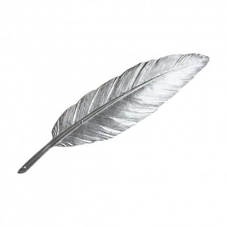 SILVER PLATED FEATHER BROOCH