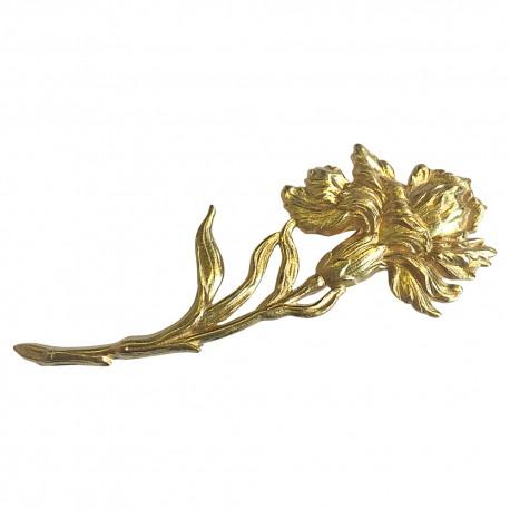 GOLD PLATED IRIS BROOCH