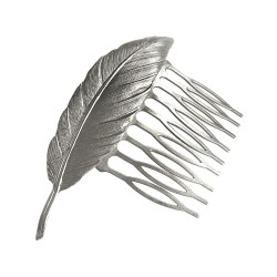 SILVER PLATED FEATHER COMB