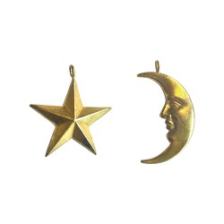 GOLD PLATED STAR AND MOON PENDANTS