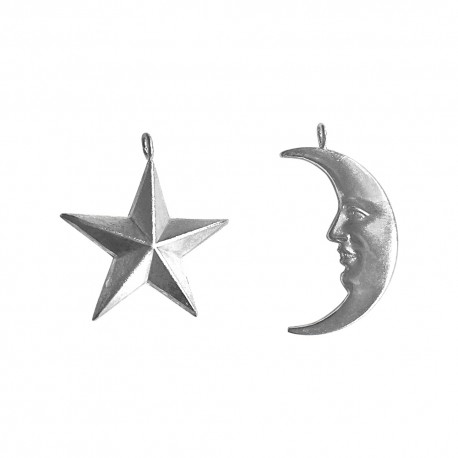 SILVER PLATED STAR AND MOON PENDANTS