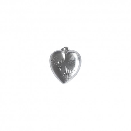 SILVER PLATED DOUBLE FACE HEART PENDANT
