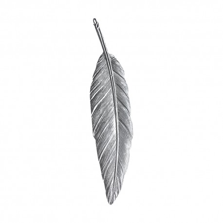 SILVER PLATED FEATHER PENDANT