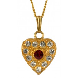 Gold PLATED Heart WITH RED STRASS Pendant