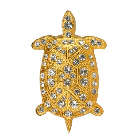 Pendentif Grande Tortue Diamant Doré