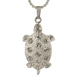 Little Silvery Diamond Turtle Pendant