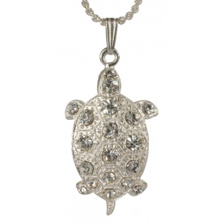 site réputé 8047a 5b30e silver plated Little Turtle with white swarovski crystal Pendant
