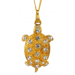 Gold plated Little Turtle with white crystal swarovski  Pendant