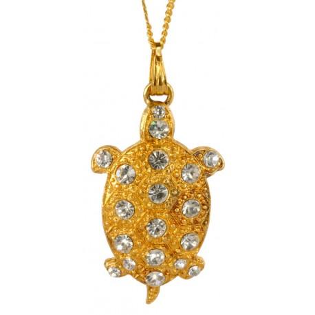 Pendentif Petite Tortue Diamant Doré